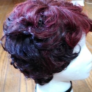 Burgundy red and black curly short wig